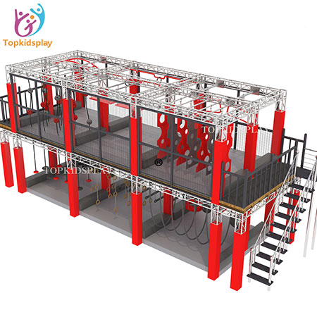 Exciting two storey ninja warrior obstacles course